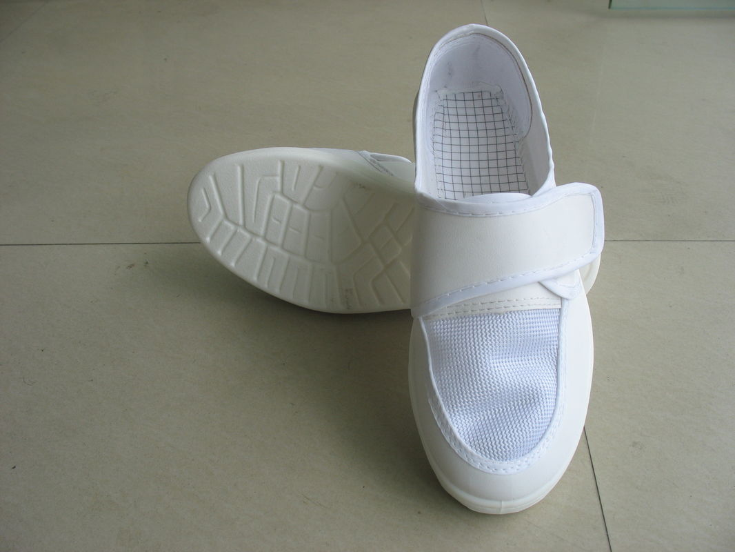 Breathable ESD Rated Safety Shoes Alkali Resisting White Mesh Shoes With Magic Tape