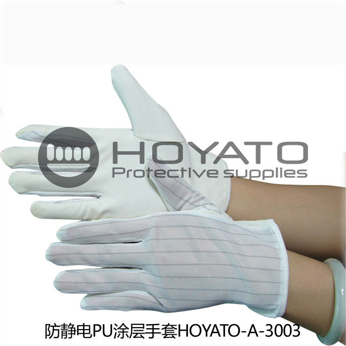 Anti Skid Durability ESD Anti Static Gloves / PU Coated Gloves For Product Inspection